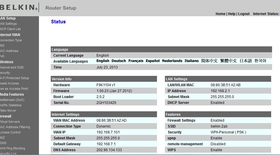Belkin Router Install